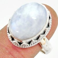 11.01cts natural rainbow moonstone 925 silver solitaire ring size 9 r22316