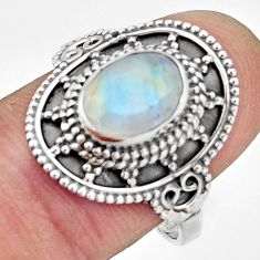 3.19cts natural rainbow moonstone 925 silver solitaire ring size 9 r26779