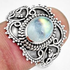 3.13cts natural rainbow moonstone 925 silver solitaire ring size 9 r26957