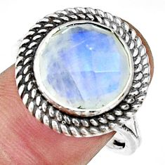 6.94cts natural rainbow moonstone 925 silver solitaire ring size 9 r33397