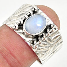 2.12cts natural rainbow moonstone 925 silver solitaire ring size 9 r34460