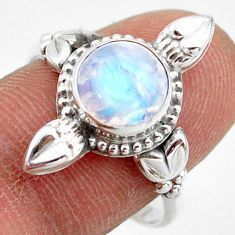 3.27cts natural rainbow moonstone 925 silver solitaire ring size 9 r41437
