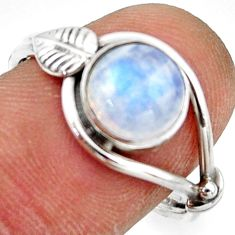 3.29cts natural rainbow moonstone 925 silver solitaire ring size 9 r41538