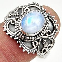 3.28cts natural rainbow moonstone 925 silver solitaire ring size 9 r41799