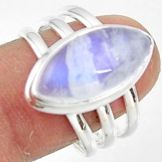 8.41cts natural rainbow moonstone 925 silver solitaire ring size 9 r47406