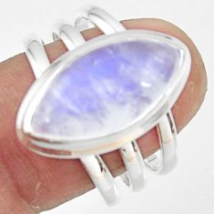 8.37cts natural rainbow moonstone 925 silver solitaire ring size 9 r47408