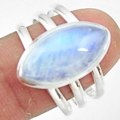 8.31cts natural rainbow moonstone 925 silver solitaire ring size 9 r47414