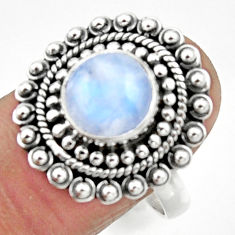 5.12cts natural rainbow moonstone 925 silver solitaire ring size 9 r52556