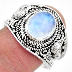 4.55cts natural rainbow moonstone 925 silver solitaire ring size 9 r53601