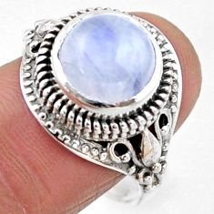 5.95cts natural rainbow moonstone 925 silver solitaire ring size 9 r54597