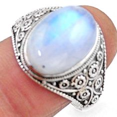 6.31cts natural rainbow moonstone 925 silver solitaire ring size 9 r54640