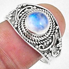 2.44cts natural rainbow moonstone 925 silver solitaire ring size 9 r58033