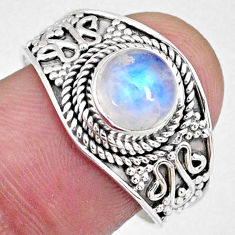 2.72cts natural rainbow moonstone 925 silver solitaire ring size 9 r58616