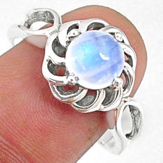 2.44cts natural rainbow moonstone 925 silver solitaire ring size 9 r68699