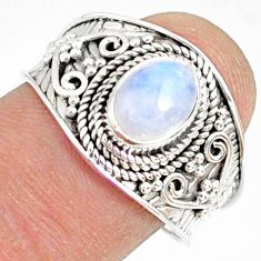 2.17cts natural rainbow moonstone 925 silver solitaire ring size 9 r81461