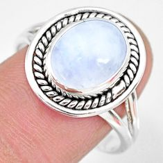 5.11cts natural rainbow moonstone 925 silver solitaire ring size 9 r83291