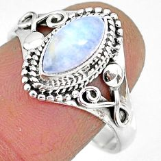 2.52cts natural rainbow moonstone 925 silver solitaire ring size 9 r92611