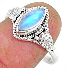 2.49cts natural rainbow moonstone 925 silver solitaire ring size 9 r92619