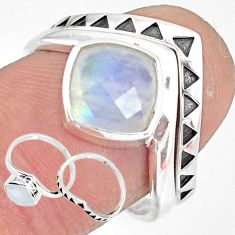 3.42cts natural rainbow moonstone 925 sterling silver 2 rings size 8 r83745