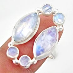 14.12cts natural rainbow moonstone 925 sterling silver ring size 7.5 d46570