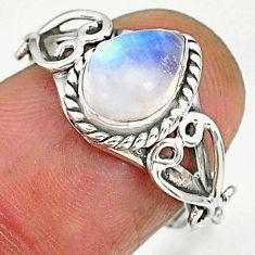 2.29cts natural rainbow moonstone 925 sterling silver ring jewelry size 6 r90054