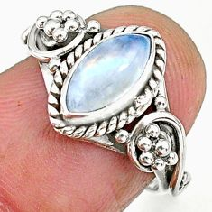 2.39cts natural rainbow moonstone 925 sterling silver ring jewelry size 6 r90058