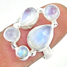7.04cts natural rainbow moonstone 925 sterling silver ring jewelry size 7 r22239