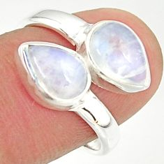 4.43cts natural rainbow moonstone 925 sterling silver ring jewelry size 7 r37970
