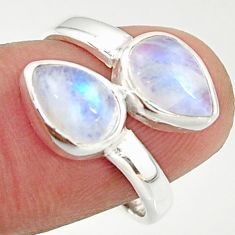 4.69cts natural rainbow moonstone 925 sterling silver ring jewelry size 7 r37976
