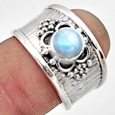 2.25cts natural rainbow moonstone 925 sterling silver ring jewelry size 7 r44277
