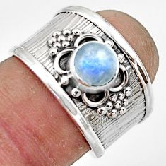 2.24cts natural rainbow moonstone 925 sterling silver ring jewelry size 7 r44278