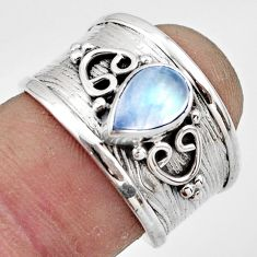 2.01cts natural rainbow moonstone 925 sterling silver ring jewelry size 7 r44280