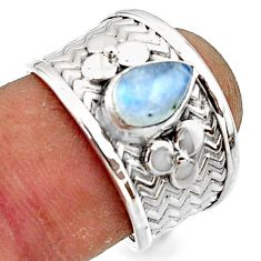 2.04cts natural rainbow moonstone 925 sterling silver ring jewelry size 7 r44295