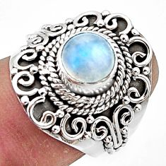 2.37cts natural rainbow moonstone 925 sterling silver ring jewelry size 7 r44318