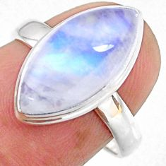 8.26cts natural rainbow moonstone 925 sterling silver ring jewelry size 7 r63974