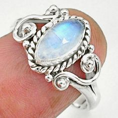 2.43cts natural rainbow moonstone 925 sterling silver ring jewelry size 7 r90057