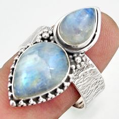 7.58cts natural rainbow moonstone 925 sterling silver ring jewelry size 8 d46159