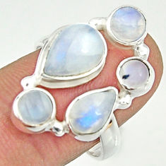 7.22cts natural rainbow moonstone 925 sterling silver ring jewelry size 8 r22221