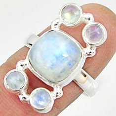7.51cts natural rainbow moonstone 925 sterling silver ring jewelry size 8 r22227