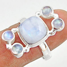 8.42cts natural rainbow moonstone 925 sterling silver ring jewelry size 8 r22251