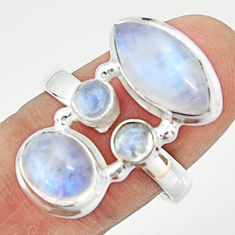 9.98cts natural rainbow moonstone 925 sterling silver ring jewelry size 8 r22253