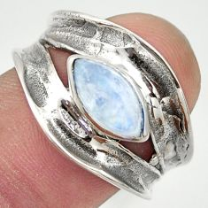 2.46cts natural rainbow moonstone 925 sterling silver ring jewelry size 8 r36997