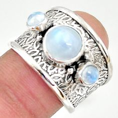 5.42cts natural rainbow moonstone 925 sterling silver ring jewelry size 8 r37937