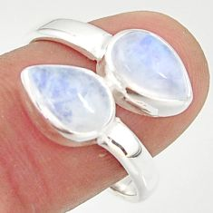 4.92cts natural rainbow moonstone 925 sterling silver ring jewelry size 8 r37960