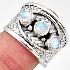 1.81cts natural rainbow moonstone 925 sterling silver ring jewelry size 8 r38040