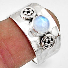1.34cts natural rainbow moonstone 925 sterling silver ring jewelry size 8 r44315