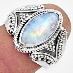 5.96cts natural rainbow moonstone 925 sterling silver ring jewelry size 8 r44317