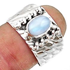 2.21cts natural rainbow moonstone 925 sterling silver ring jewelry size 8 r44320