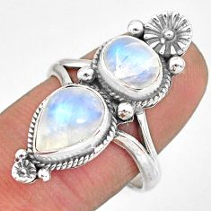 5.52cts natural rainbow moonstone 925 sterling silver ring jewelry size 8 r83752
