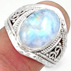6.64cts natural rainbow moonstone 925 sterling silver ring jewelry size 9 r42818
